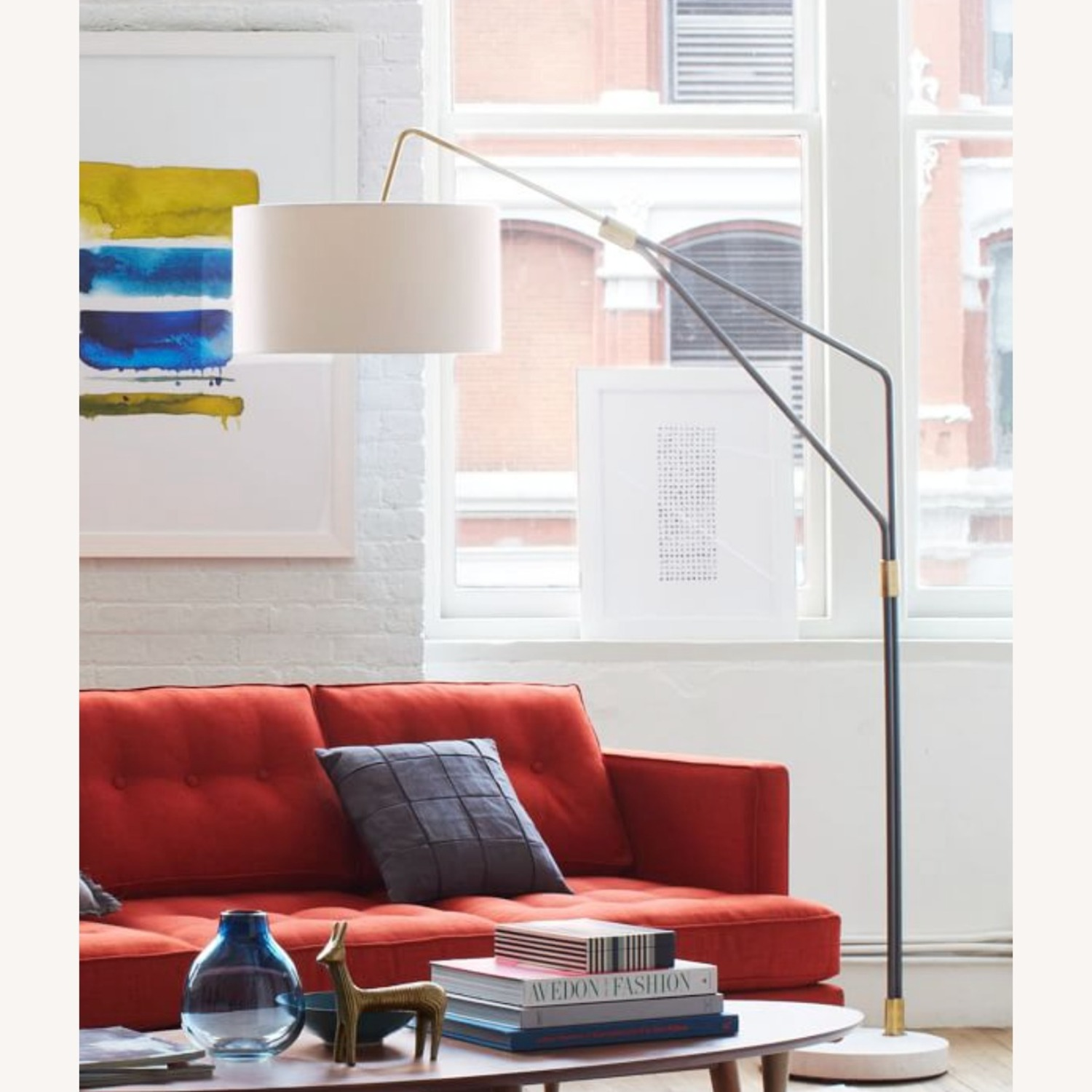 Modern Arc Floor Lamp with Marble Base - image-0