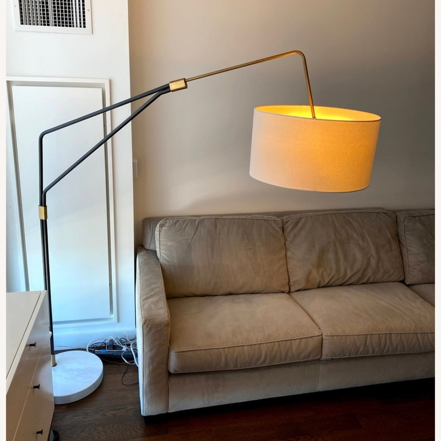 Modern Arc Floor Lamp with Marble Base - image-1