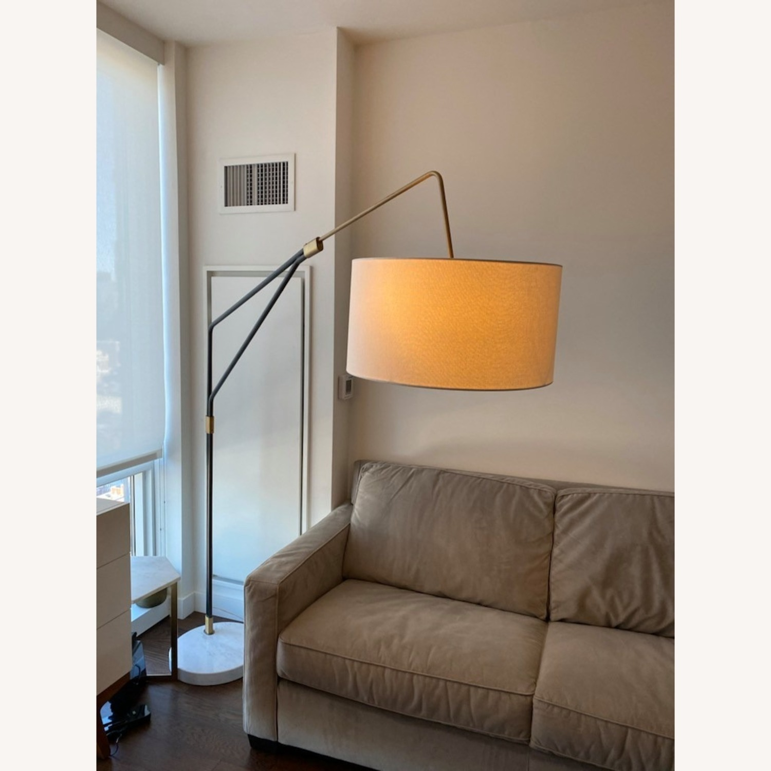 Modern Arc Floor Lamp with Marble Base - image-2