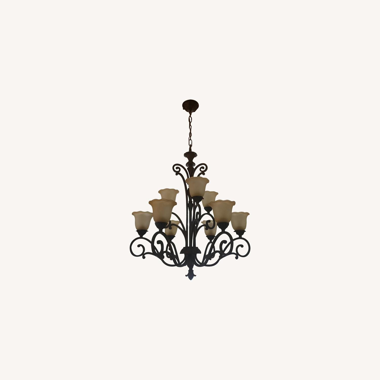 Bronze 9 Lamp Chandelier - image-0