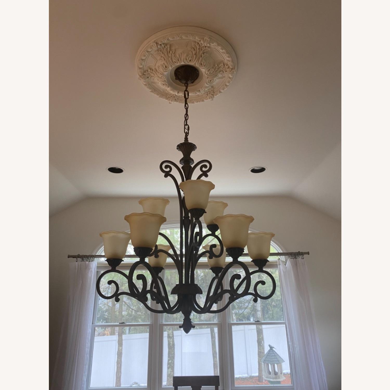 Bronze 9 Lamp Chandelier - image-1