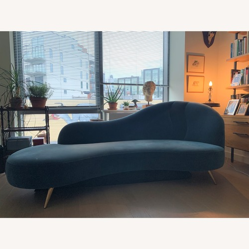 Used CB2 Copine Peacock Velvet Curved Chaise for sale on AptDeco