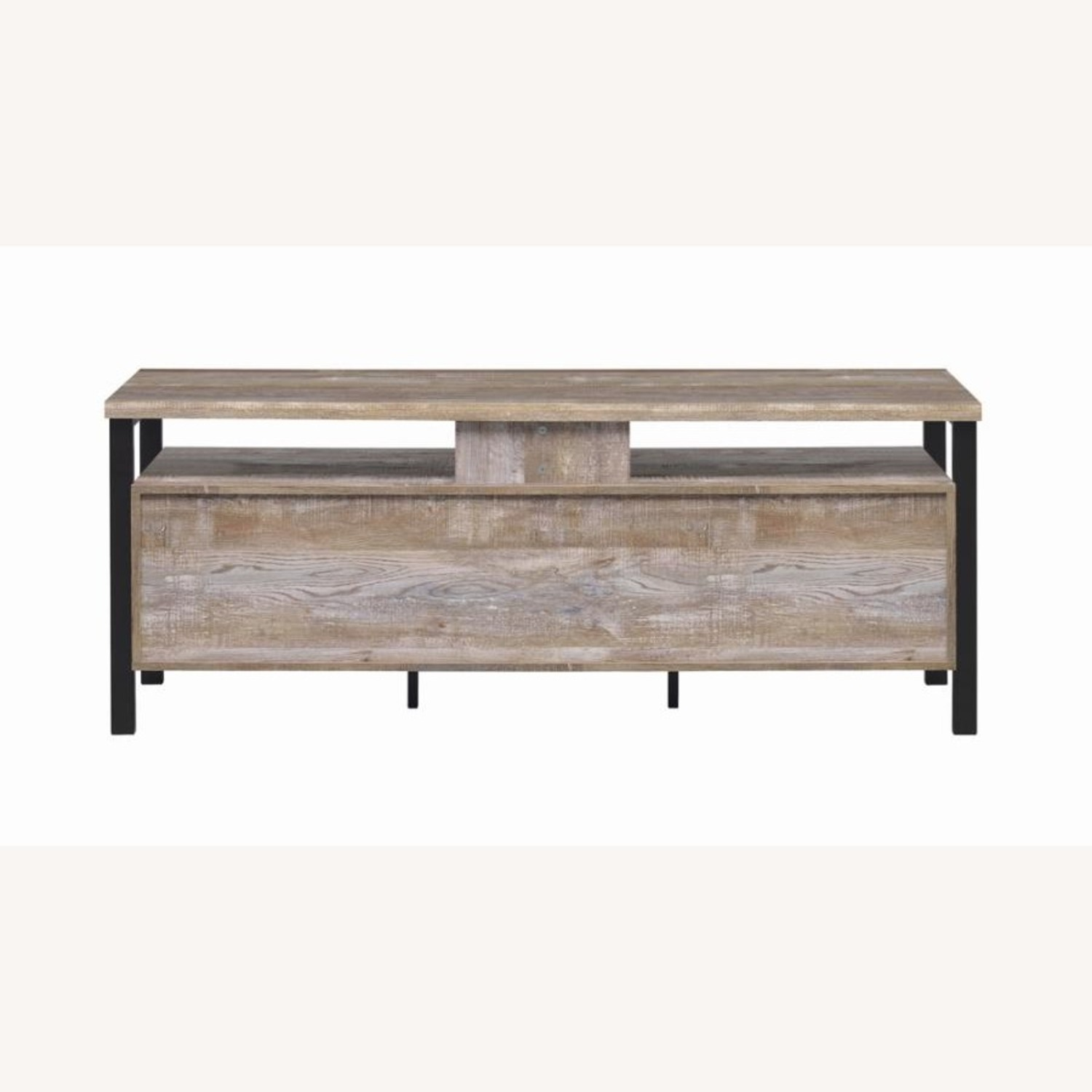 TV Console In Weathered Oak W/ Storage & Shelves - image-4