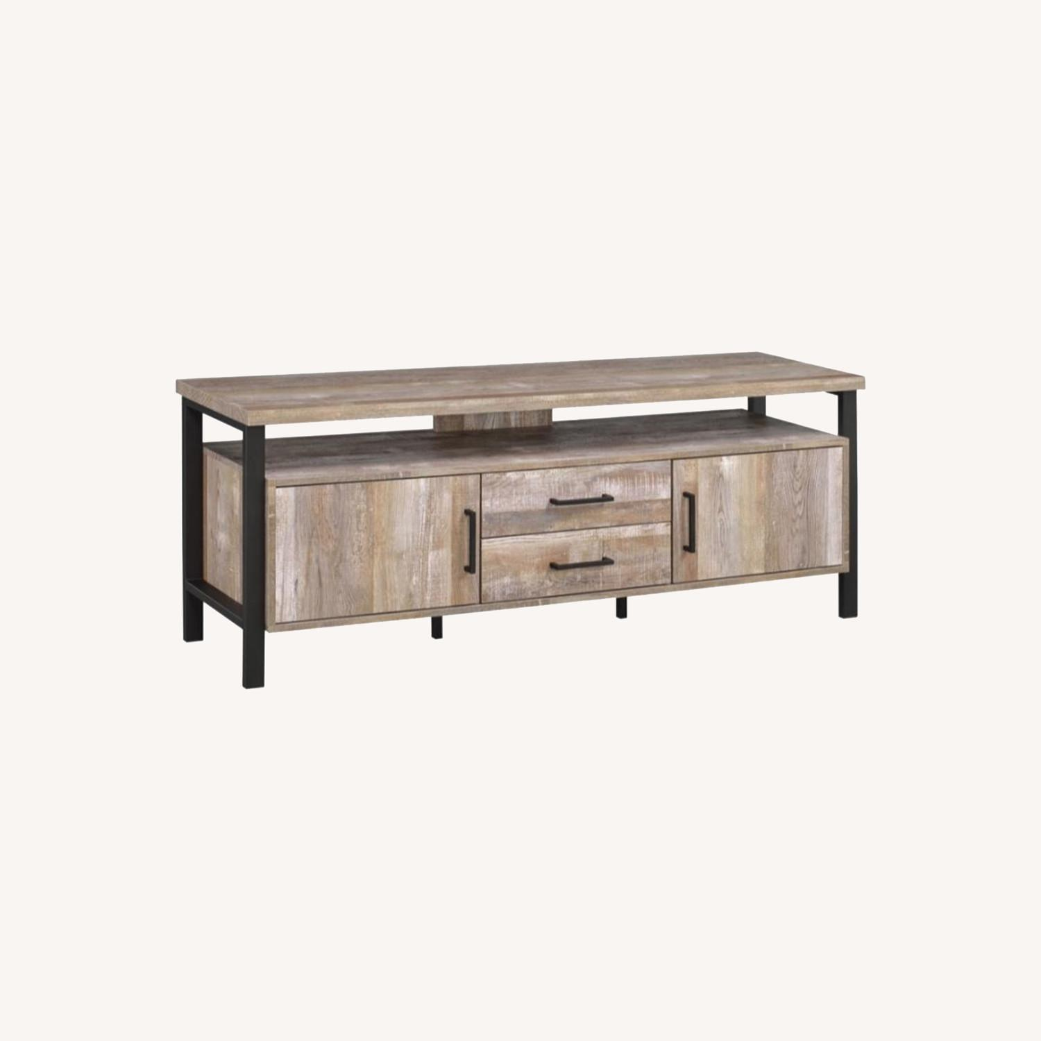 TV Console In Weathered Oak W/ Storage & Shelves - image-7