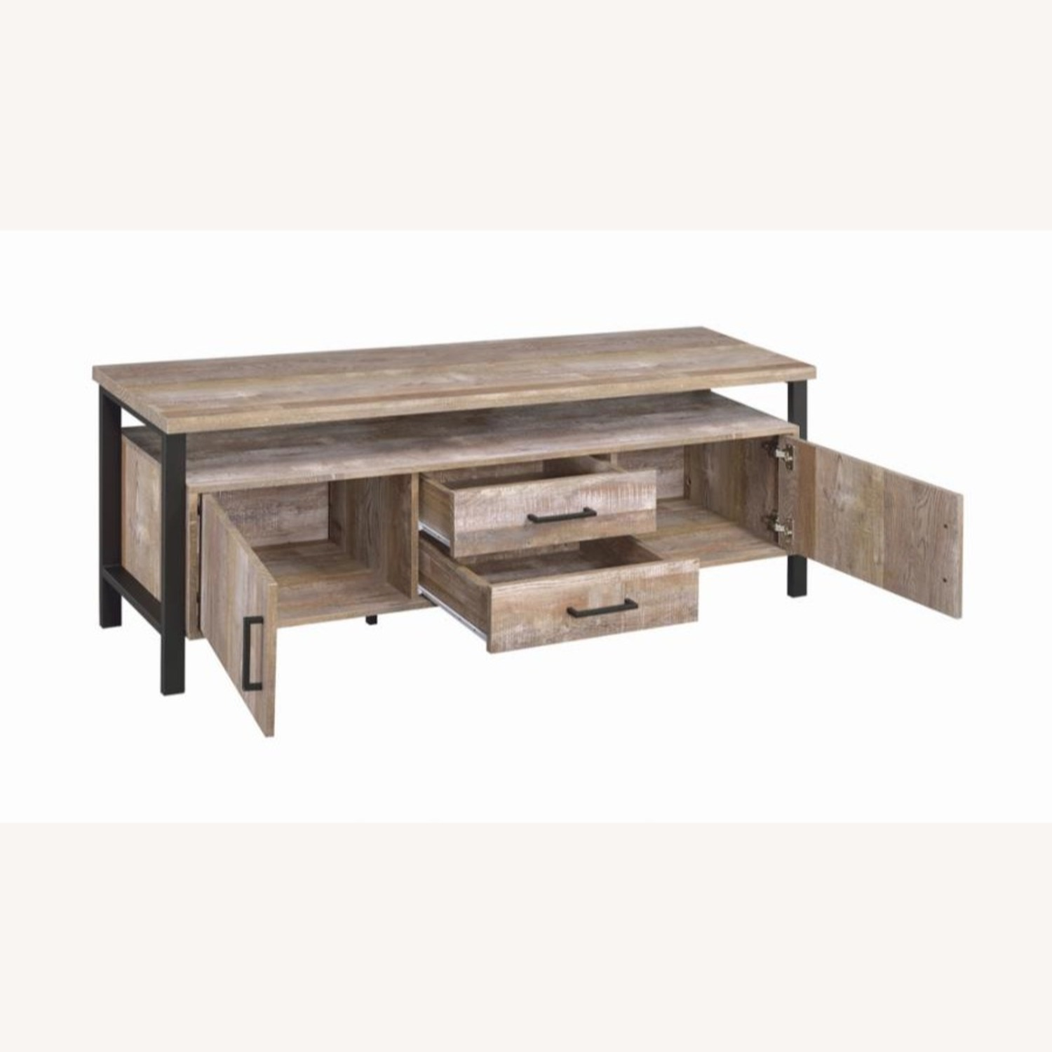 TV Console In Weathered Oak W/ Storage & Shelves - image-1