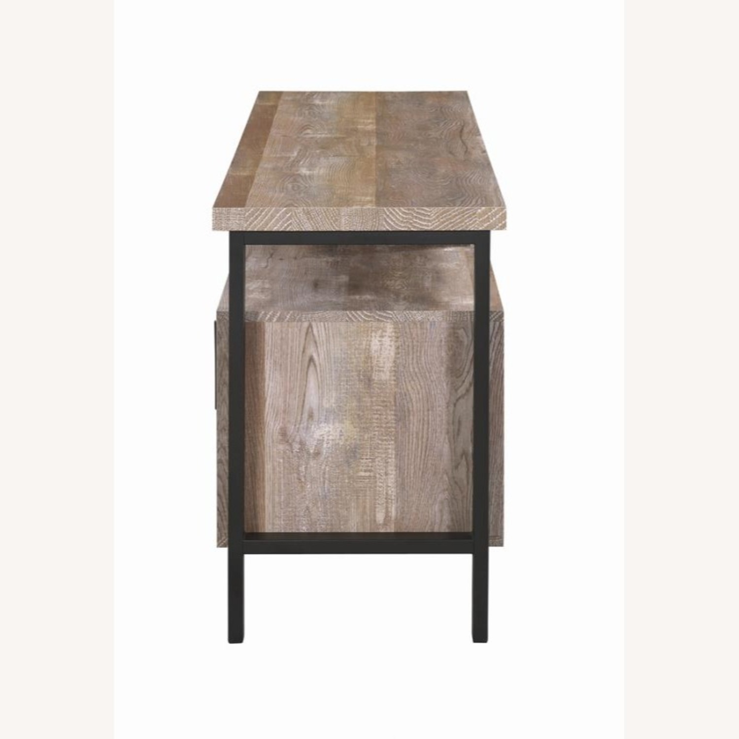 TV Console In Weathered Oak W/ Storage & Shelves - image-3