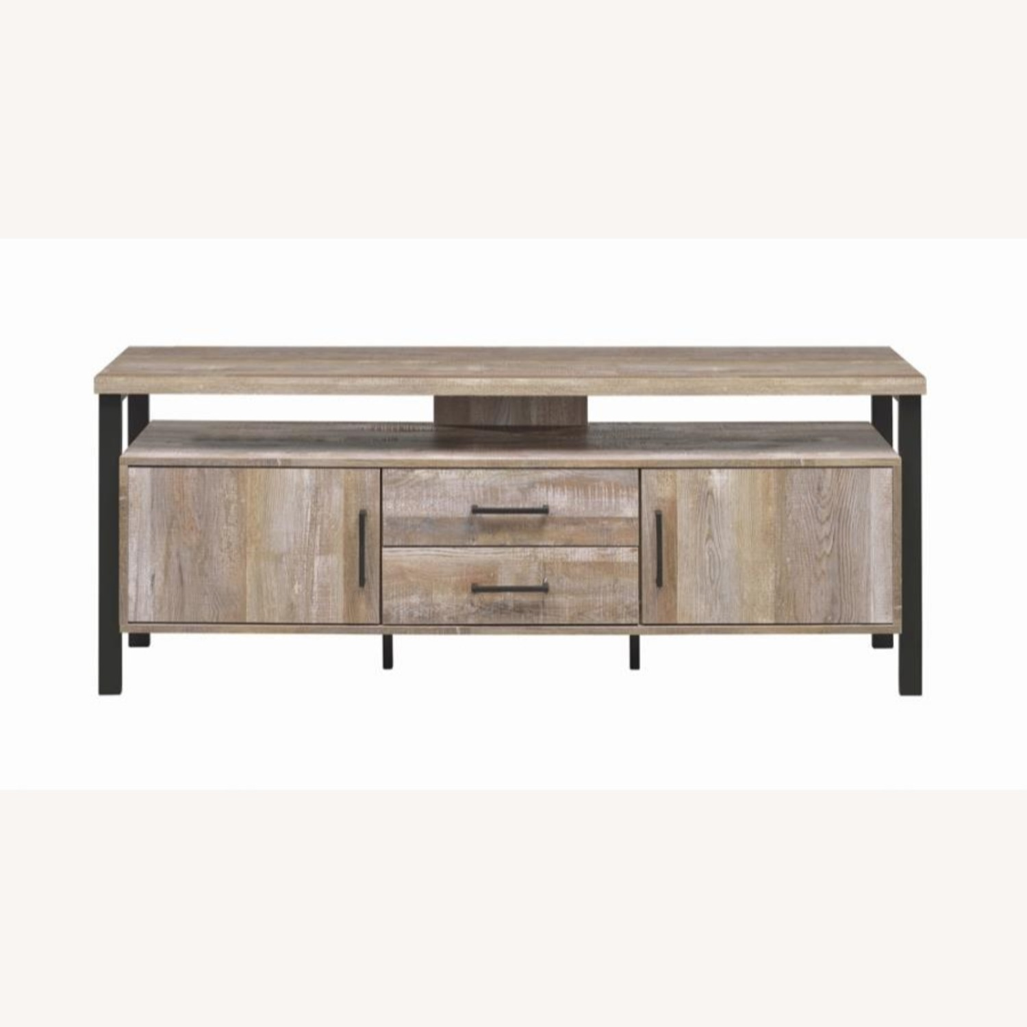 TV Console In Weathered Oak W/ Storage & Shelves - image-2