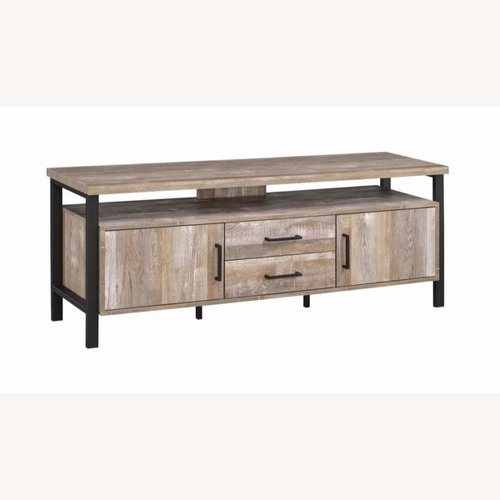 Used TV Console In Weathered Oak W/ Storage & Shelves for sale on AptDeco