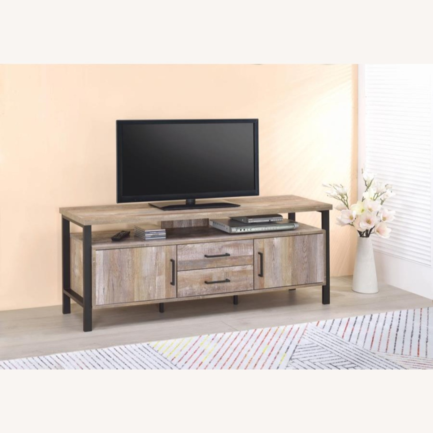 TV Console In Weathered Oak W/ Storage & Shelves - image-6