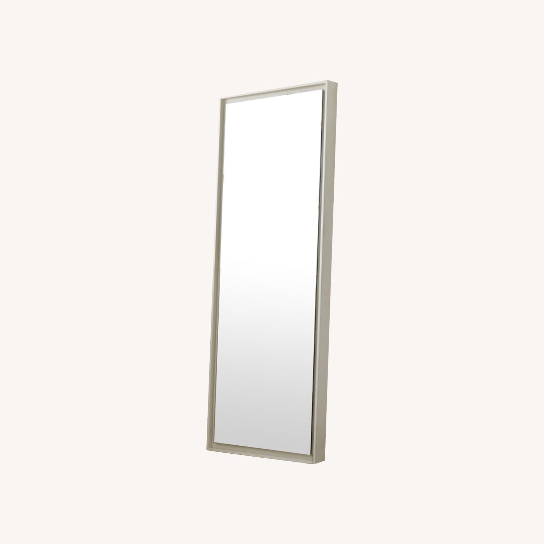 West Elm Floating Wood Floor Mirror in White - image-0