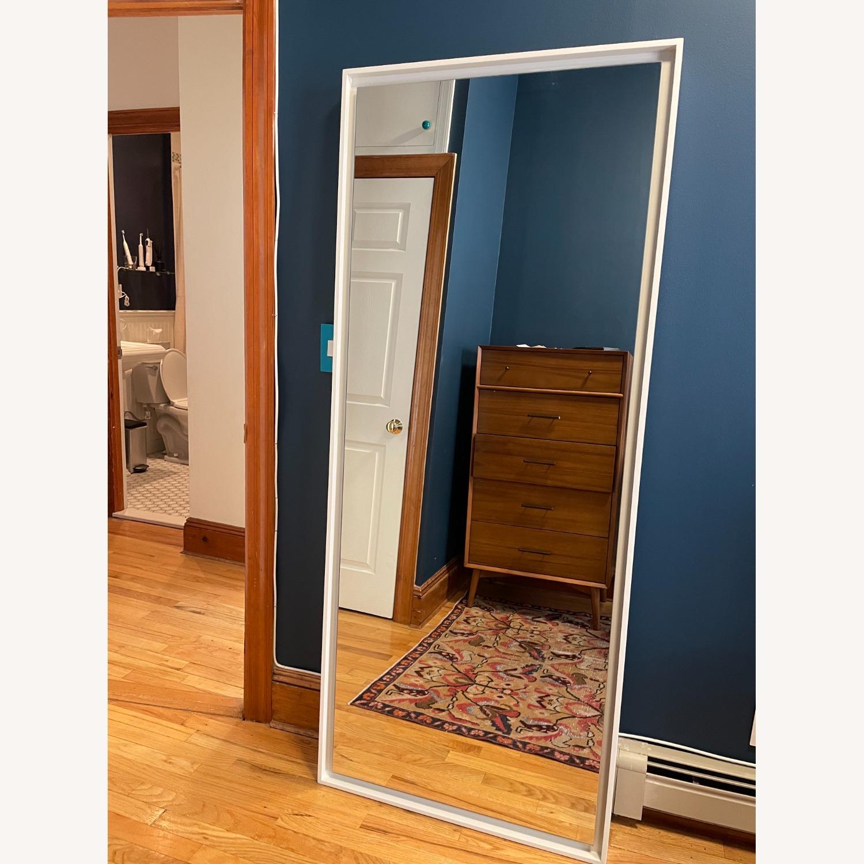 West Elm Floating Wood Floor Mirror in White - image-1