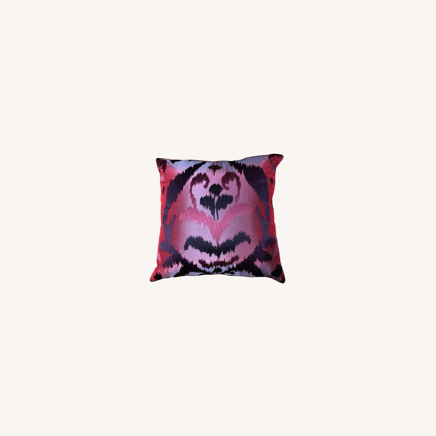 Custom Silk Embroidered Ikat Pillows - image-0