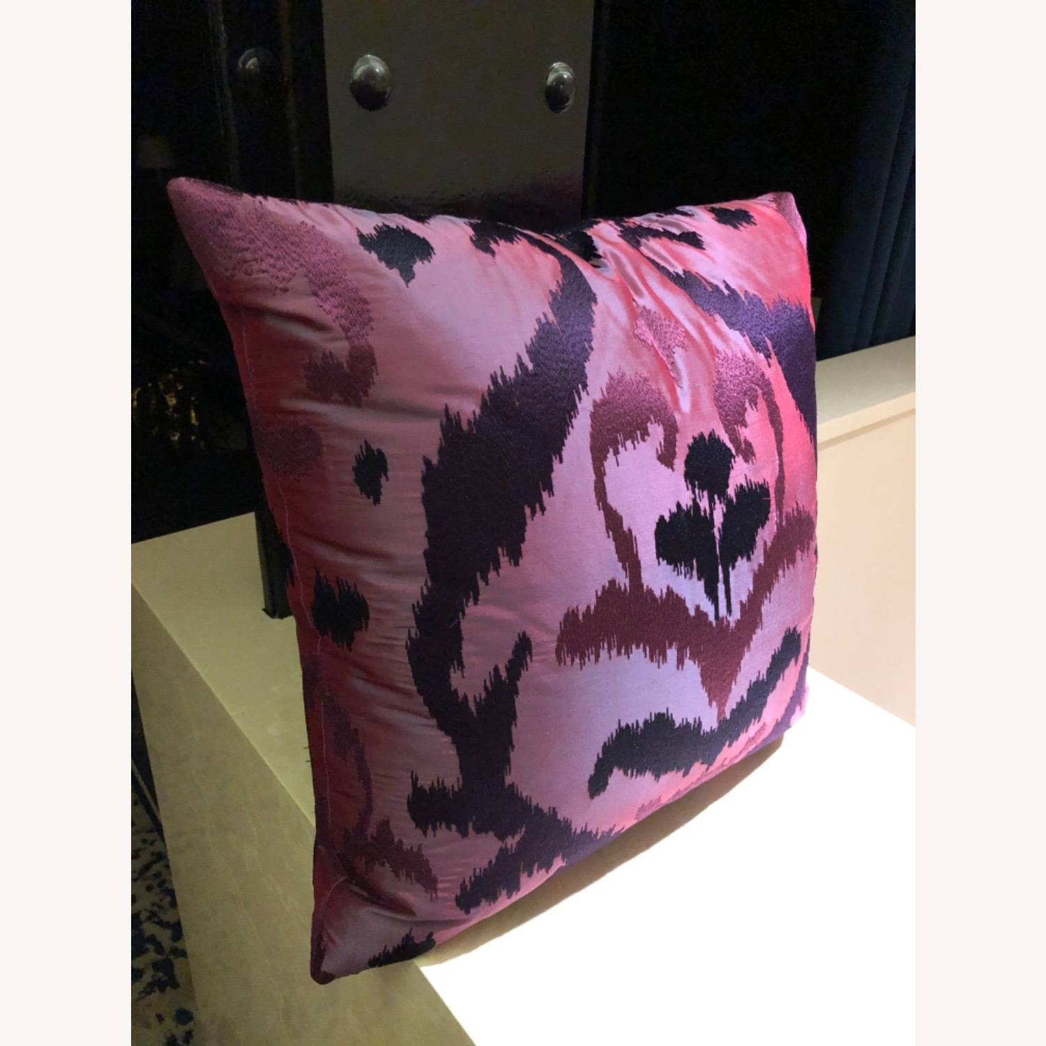 Custom Silk Embroidered Ikat Pillows - image-2