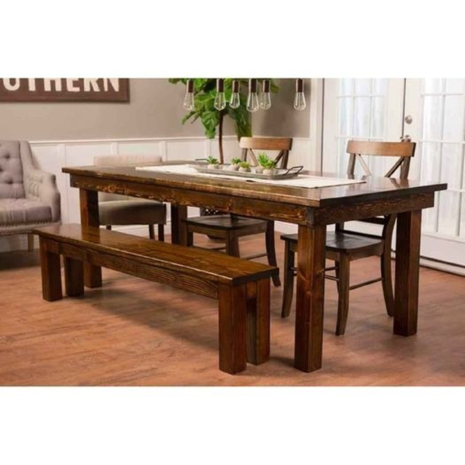 Farmhouse Dining Room Set with Matching Benches - image-3