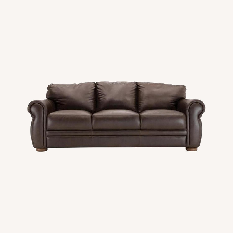 Chateau Dax Marsala Leather Sofa - image-0
