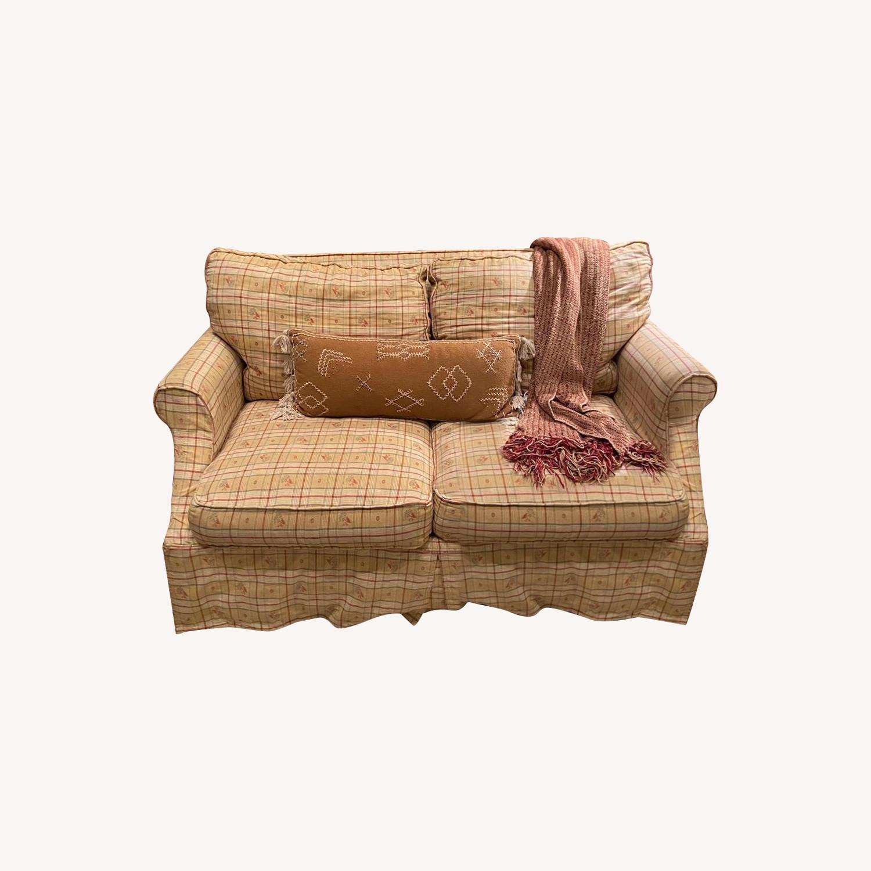 Lillian August Slip Covered Down Filled Loveseat - image-0