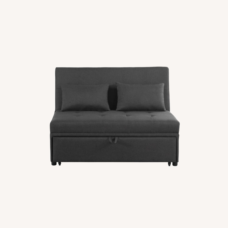 Sofa Bed In Grey Fabric W/ Reclining Headboard - image-7