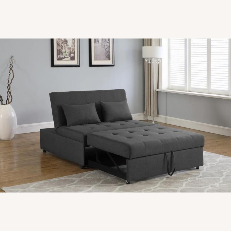 Sofa Bed In Grey Fabric W/ Reclining Headboard - image-4