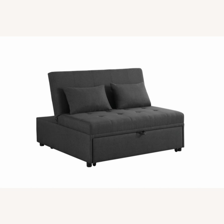 Sofa Bed In Grey Fabric W/ Reclining Headboard - image-0