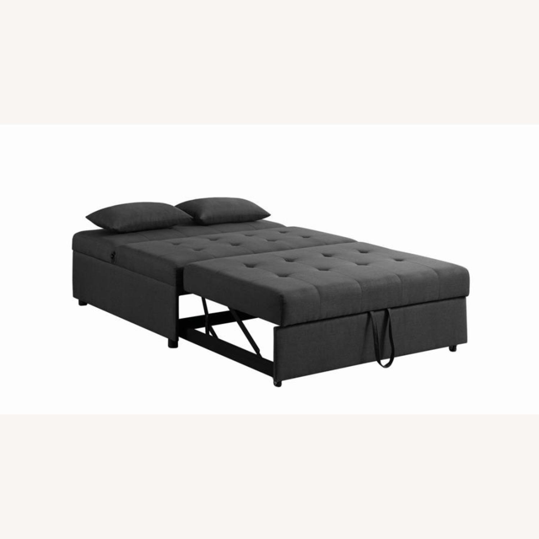 Sofa Bed In Grey Fabric W/ Reclining Headboard - image-3