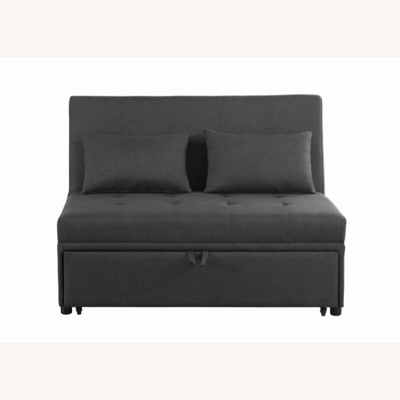 Sofa Bed In Grey Fabric W/ Reclining Headboard - image-1