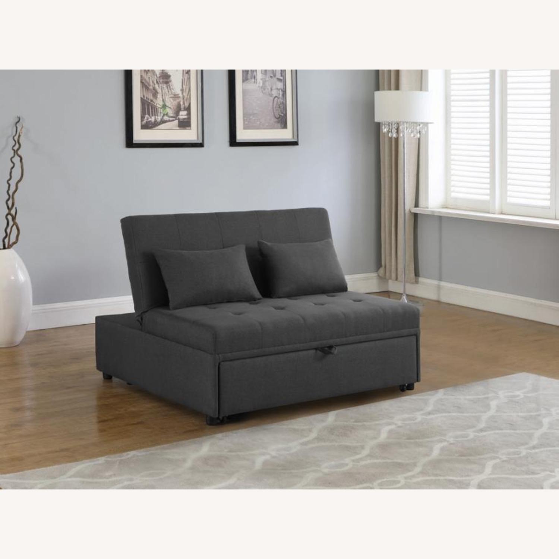 Sofa Bed In Grey Fabric W/ Reclining Headboard - image-6