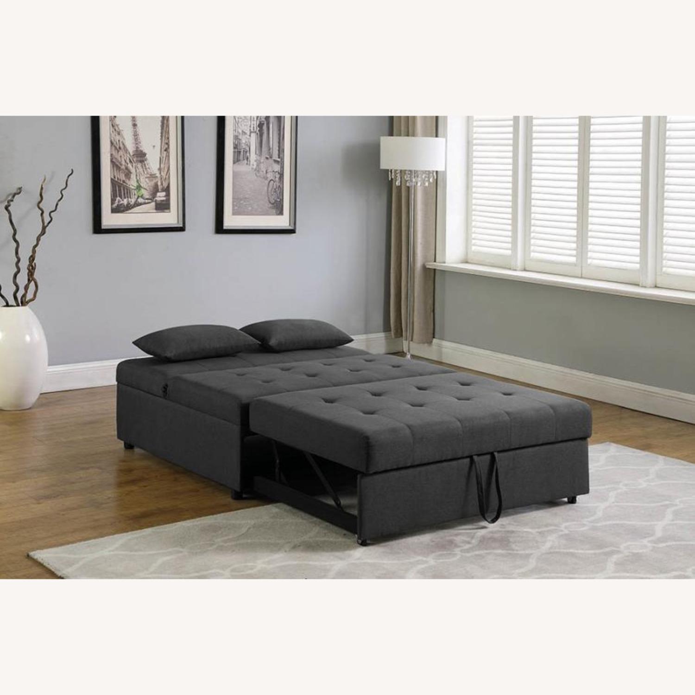 Sofa Bed In Grey Fabric W/ Reclining Headboard - image-5