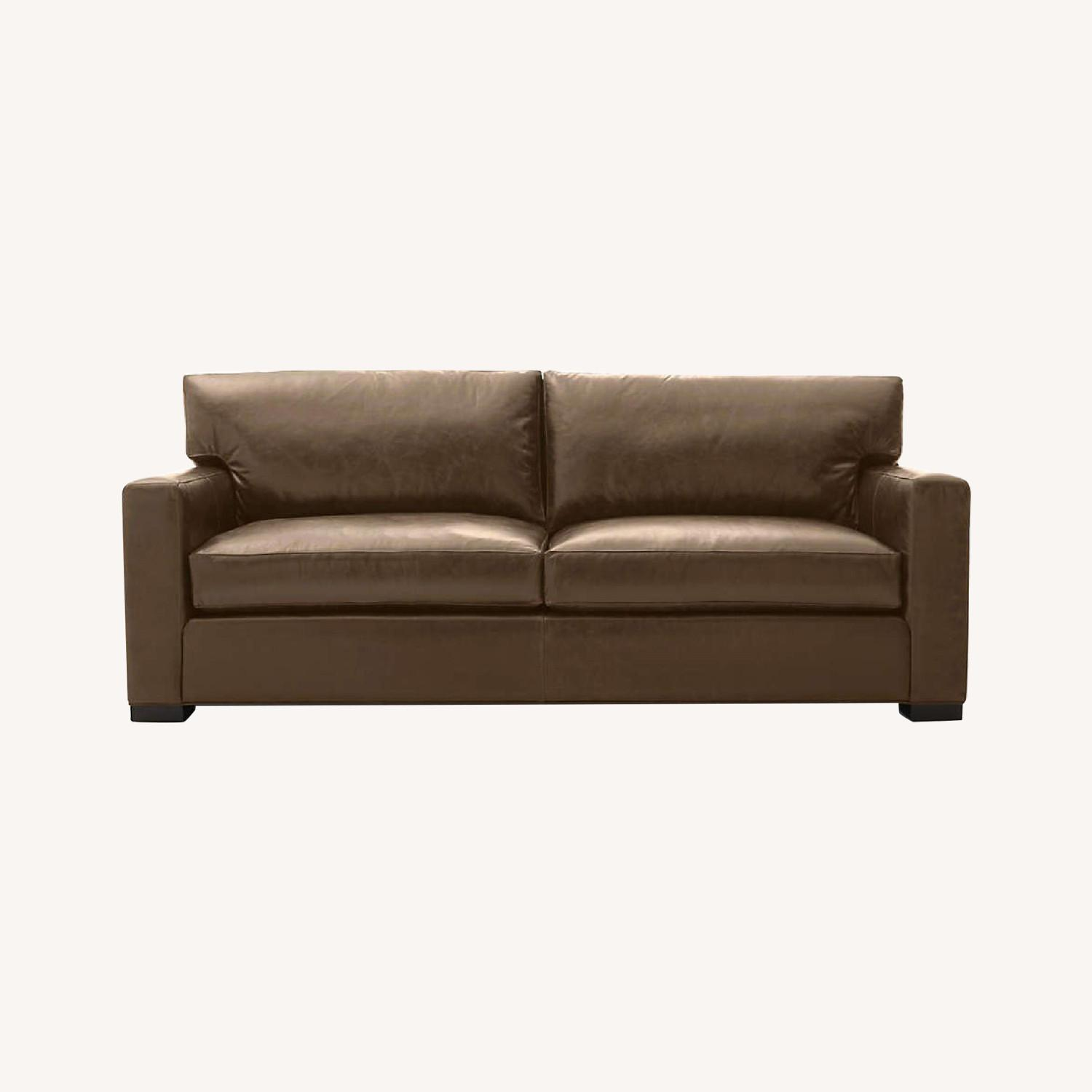 Crate and Barrel Axis Leather Sofa - image-0