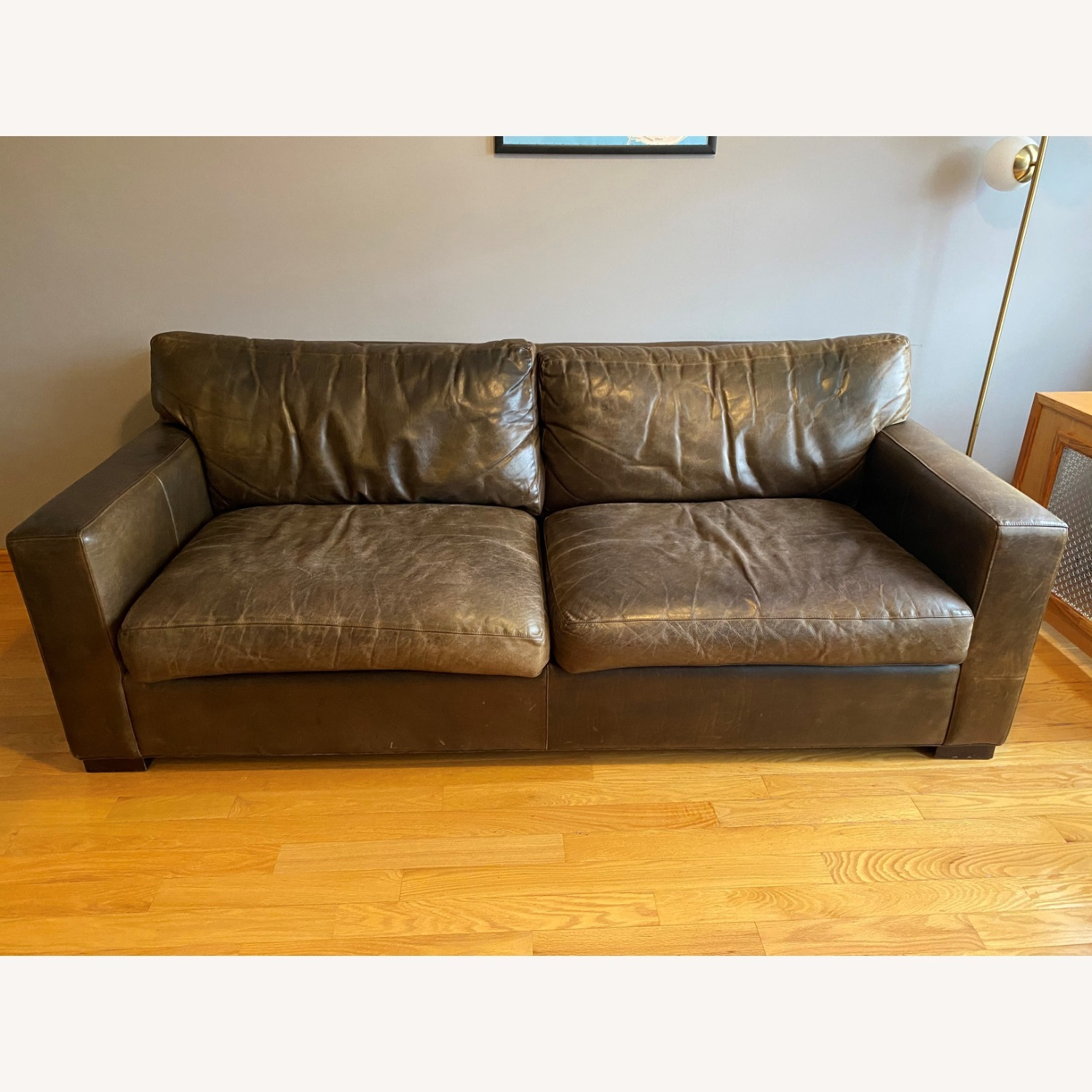 Crate and Barrel Axis Leather Sofa - image-1