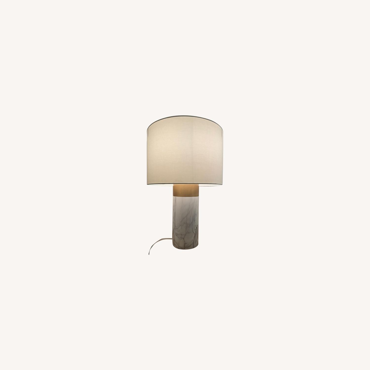 White and Gold Table Lamp - image-0