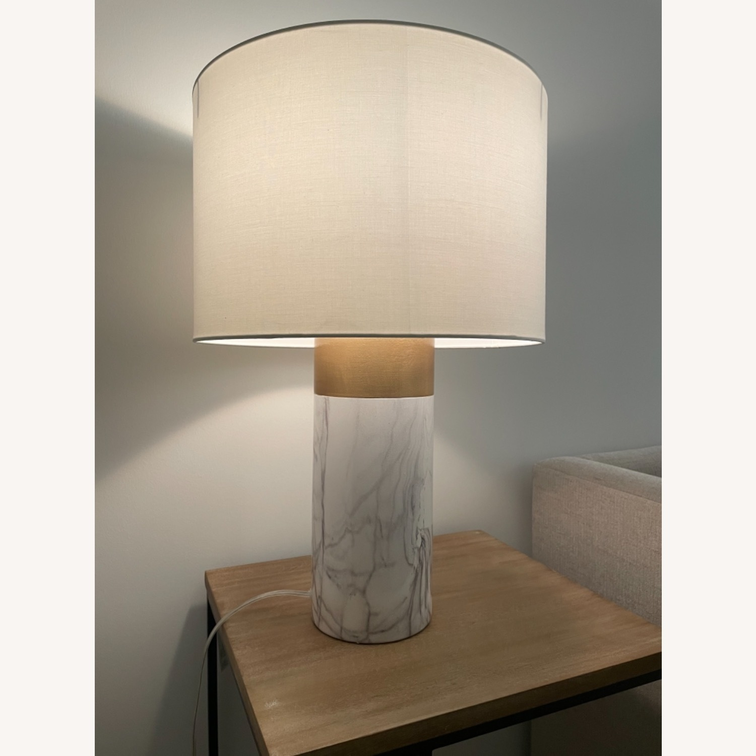 White and Gold Table Lamp - image-1