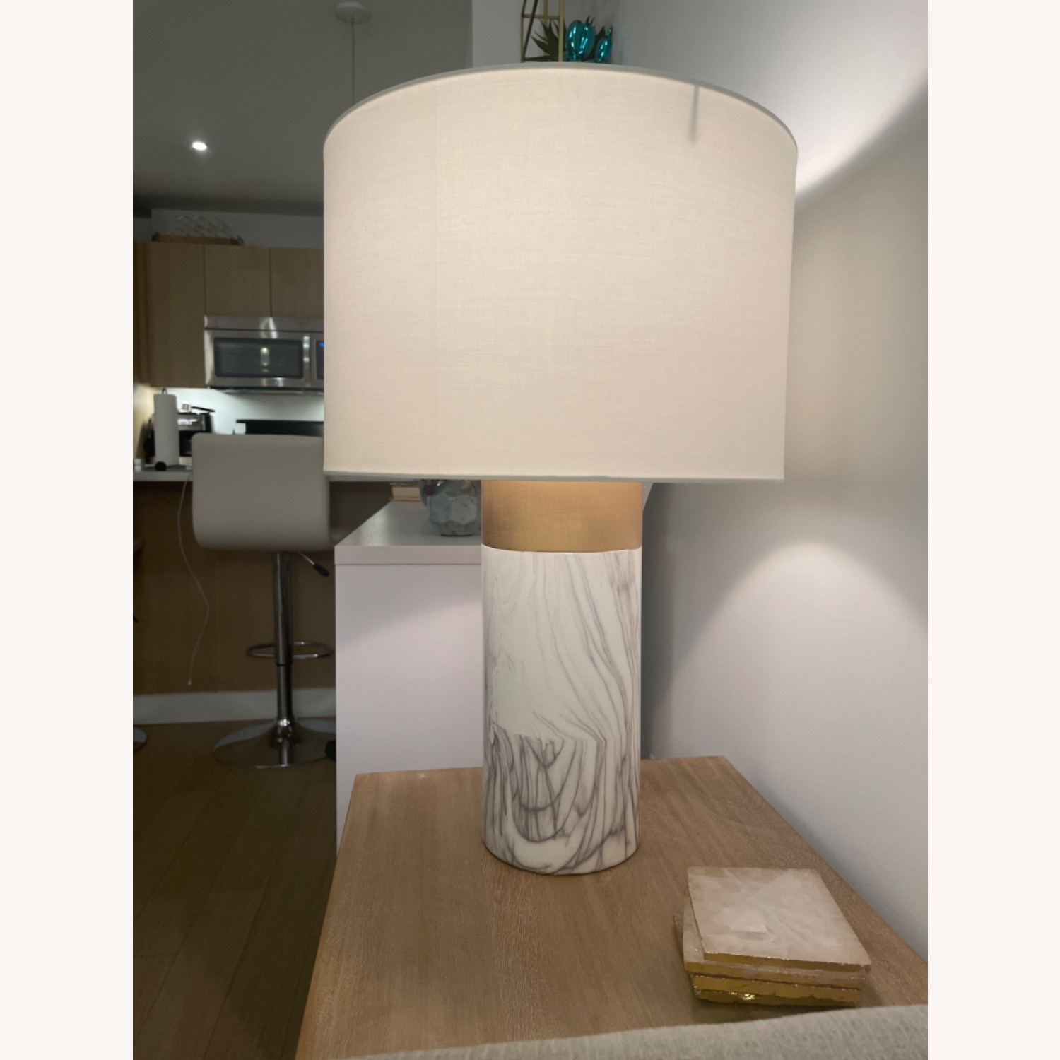 White and Gold Table Lamp - image-2