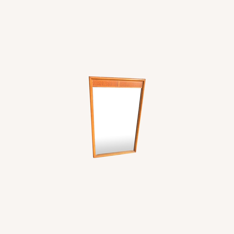 Vintage Mid Century 1950s Wooden Framed Mirror - image-0