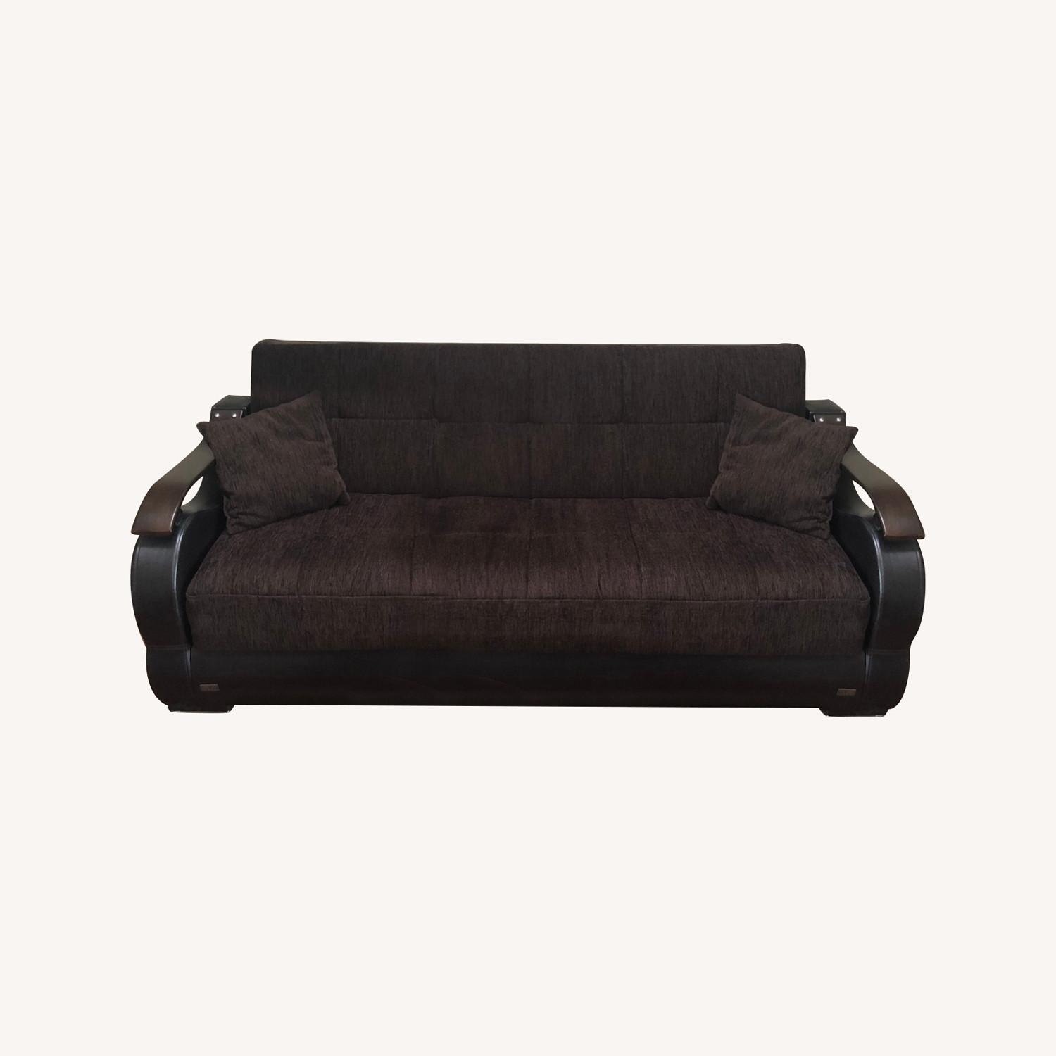 Ashley Furniture Coffee Brown Convertible Couch/Futon - image-0