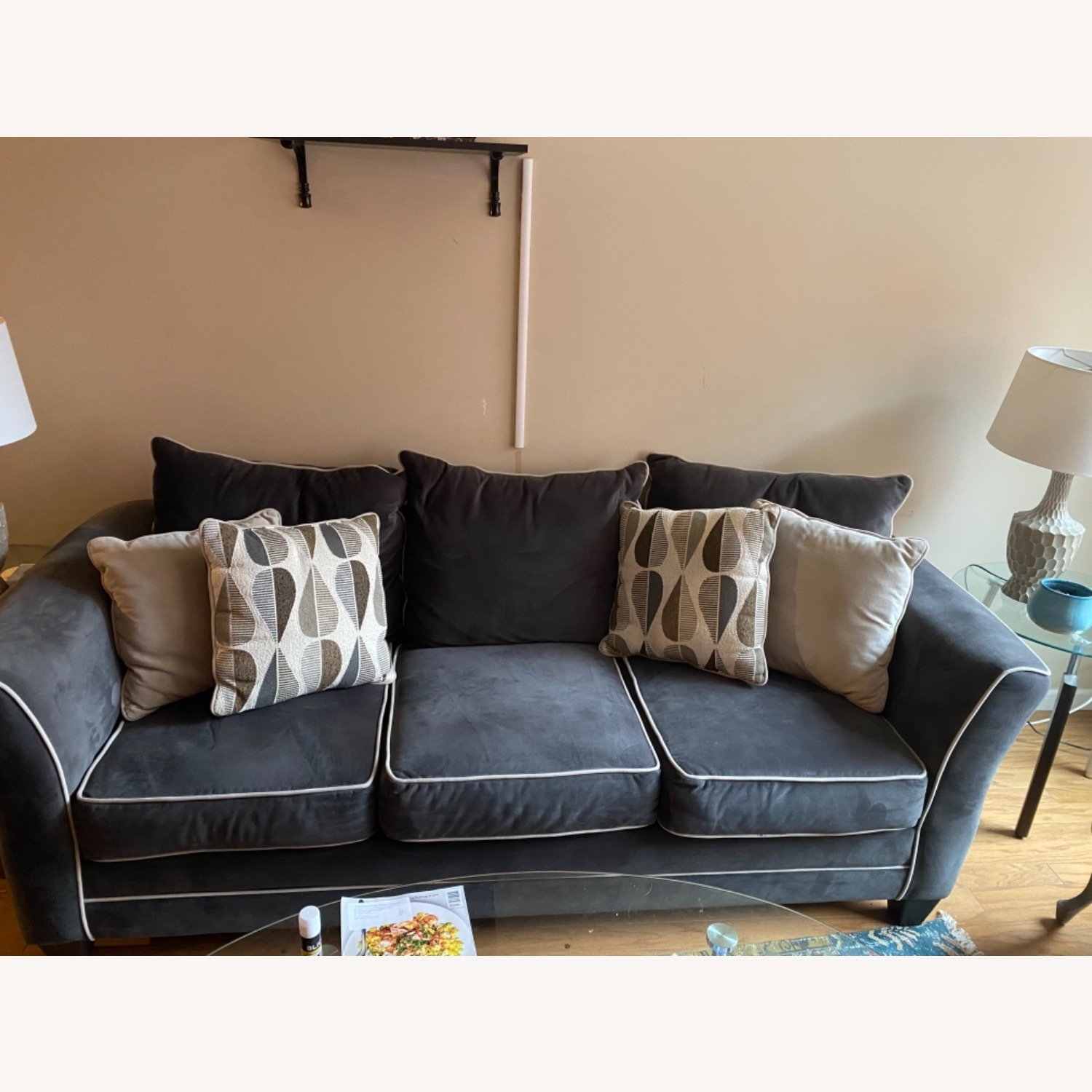 Bob's Discount Furniture Navy Blue Sofa - image-0