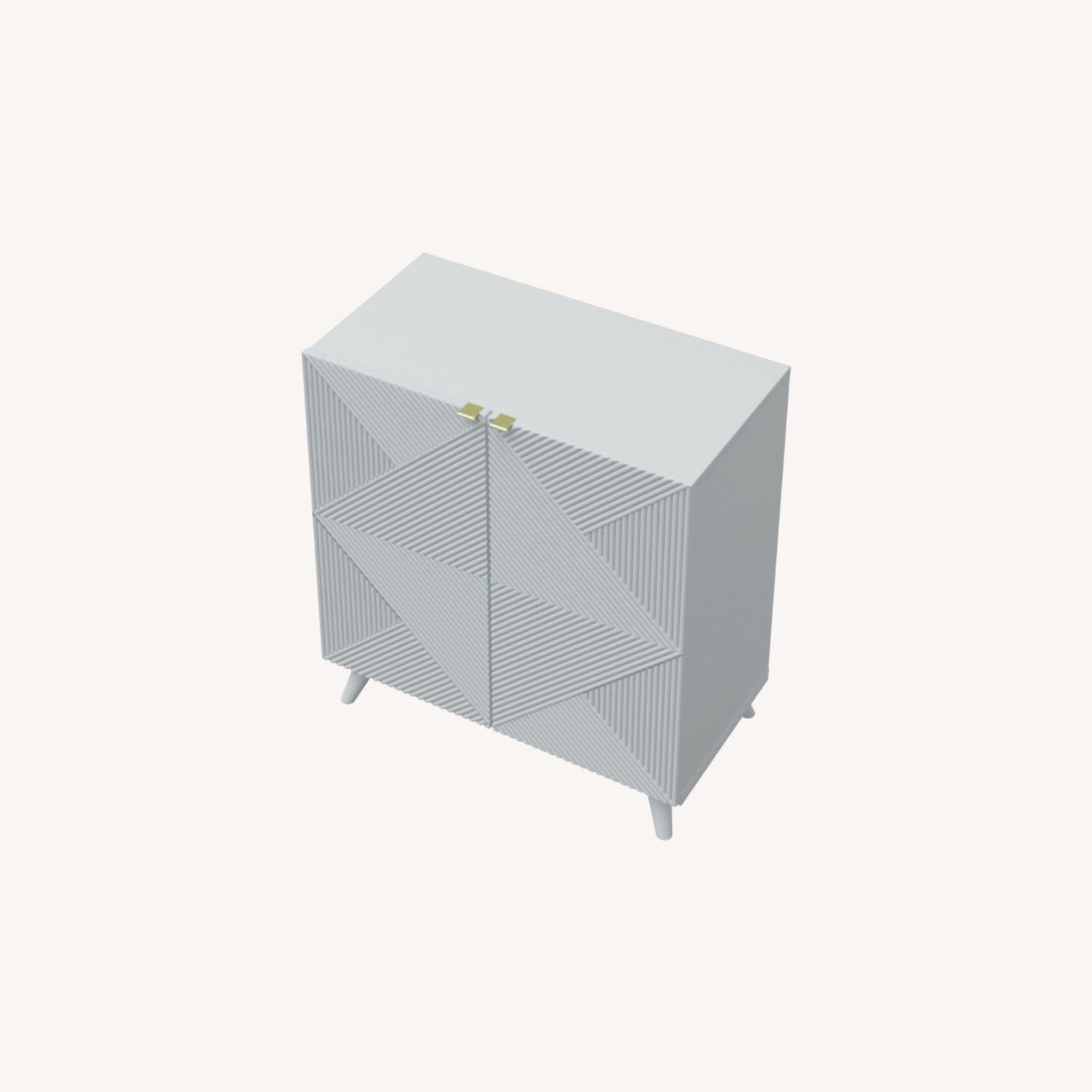 Two-Door Geometric Cabinet (White Pearl) - image-0