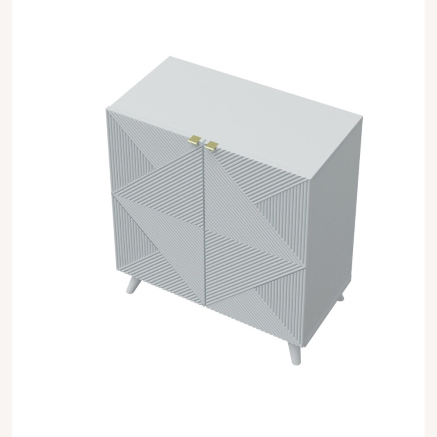Two-Door Geometric Cabinet (White Pearl) - image-1
