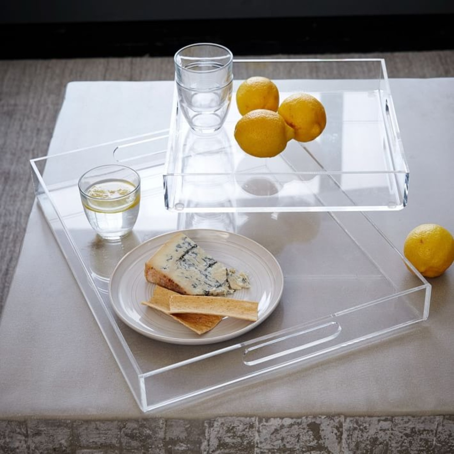 West Elm Clear Acrylic Square Tray - image-2