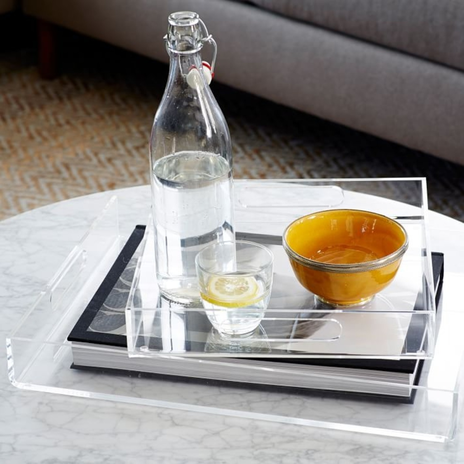 West Elm Clear Acrylic Square Tray - image-3