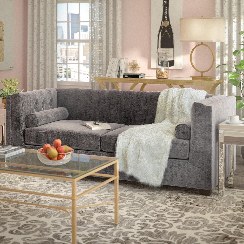 Wayfair Grey Velvet Kelly Clarkson Sofa - image-1