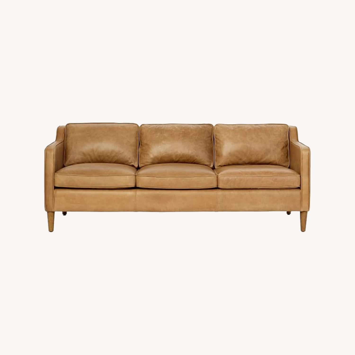 West Elm Leather Couch - image-0