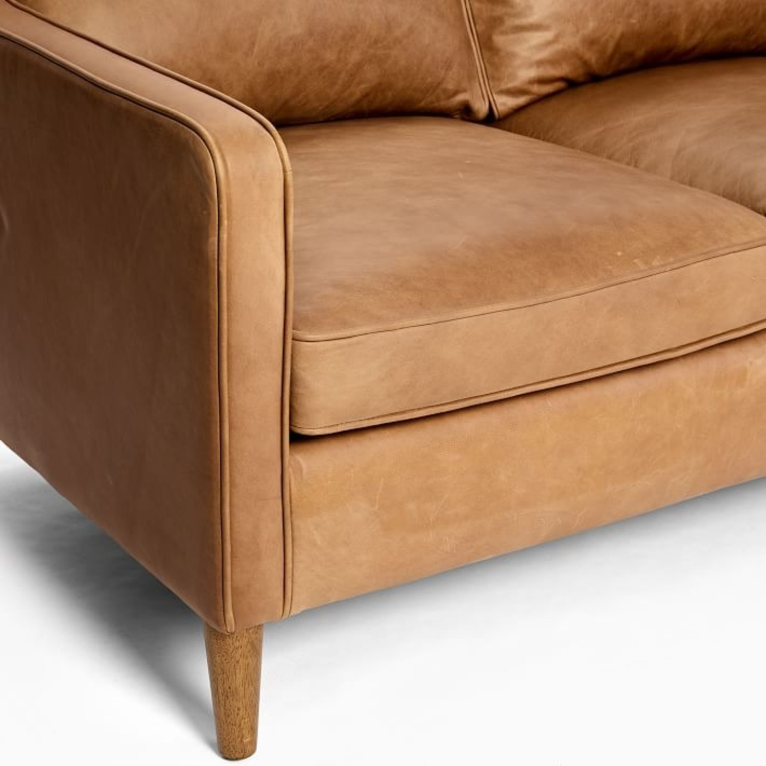 West Elm Leather Couch - image-3