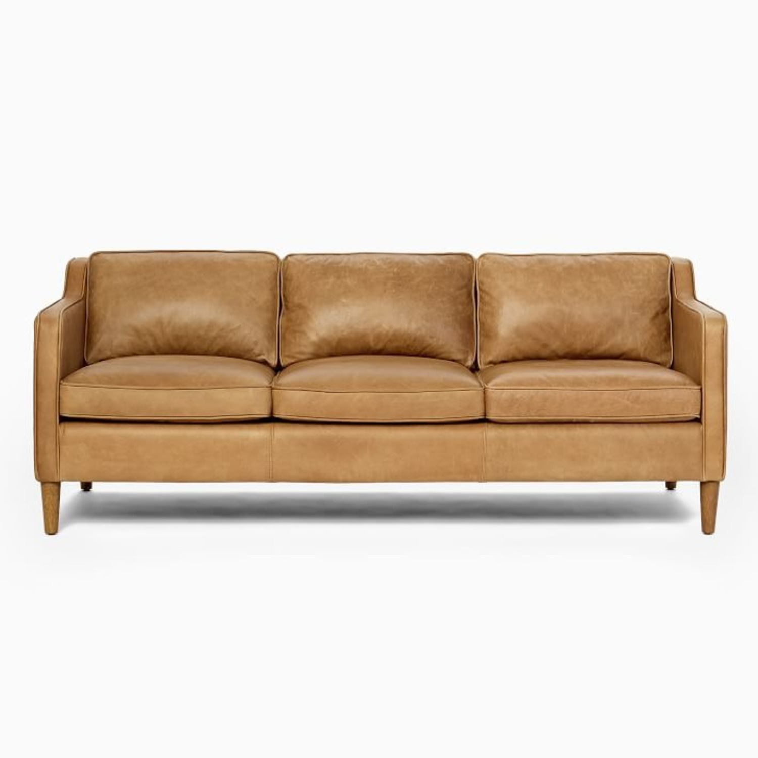 West Elm Leather Couch - image-2