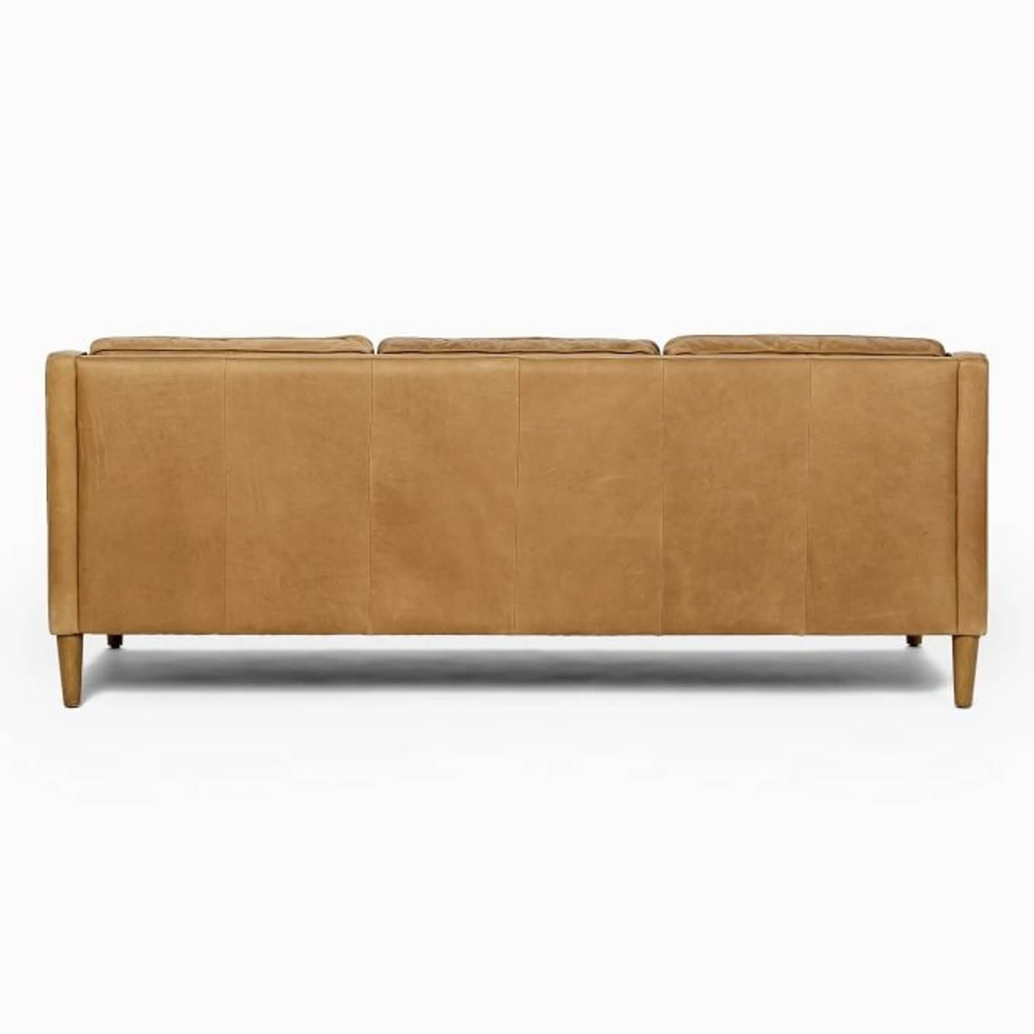 West Elm Leather Couch - image-1