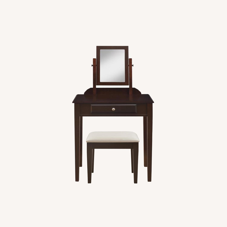 Vanity Set W/ Adjustable Mirror In Espresso Finish - image-9