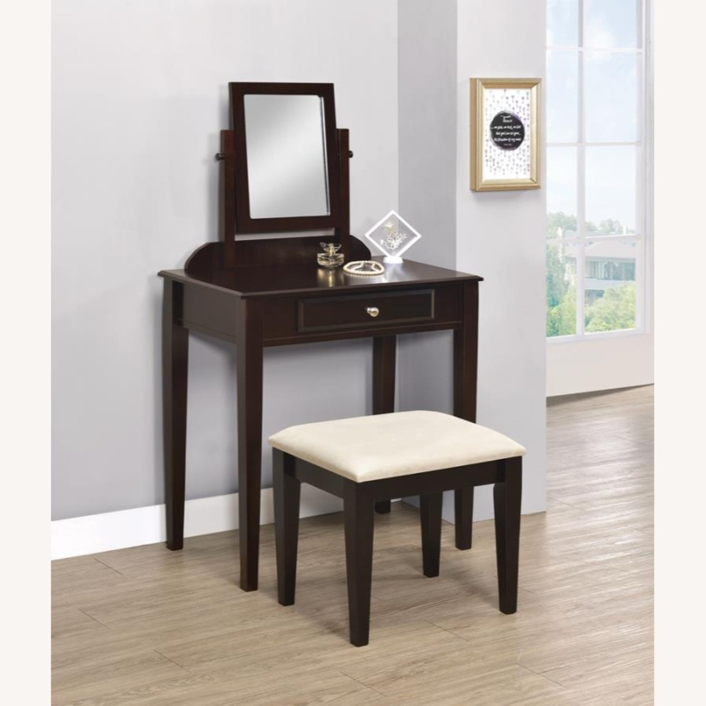 Vanity Set W/ Adjustable Mirror In Espresso Finish - image-1