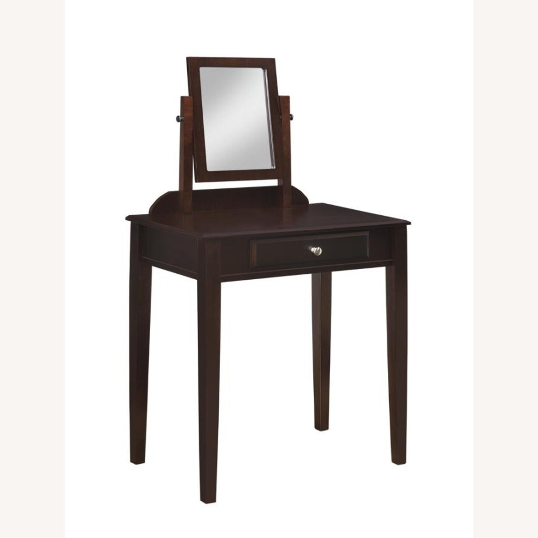 Vanity Set W/ Adjustable Mirror In Espresso Finish - image-0