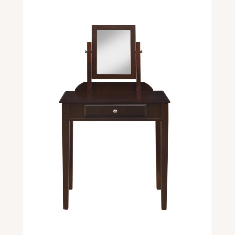 Vanity Set W/ Adjustable Mirror In Espresso Finish - image-2