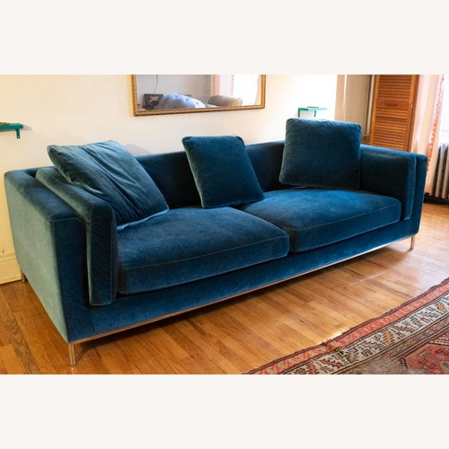 "Used Rove Concepts Velvet ""Solstice Blue"" Nico sofa for sale on AptDeco"