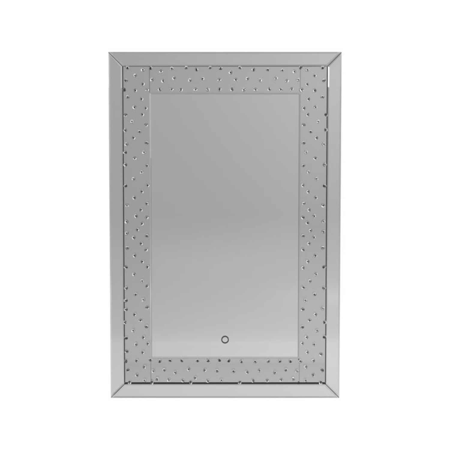 Wall Mirror In Silver Frame W/ Acrylic Crystals - image-1